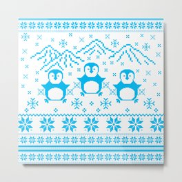 Cute Blue Scandinavian Penguin Holiday Design Metal Print