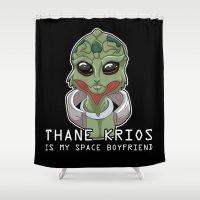 boyfriend Shower Curtains featuring Thane Is My Space Boyfriend by Maggie Davidson