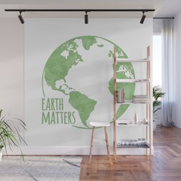 Earth Matters - Earth Day - Grunge Green Outline 01 Wall Mural