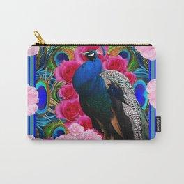 BLUE PEACOCK &  PINK ROSE GARDEN PATTERN MODERN ART Carry-All Pouch