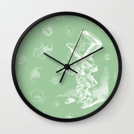 Mad Hatter and Teapots Wall Clock