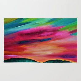 ROSY SKY OVER THE HILLS - Abstract Sky Oil Painting Rug
