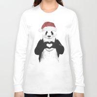 santa Long Sleeve T-shirts featuring Santa panda by Balazs Solti