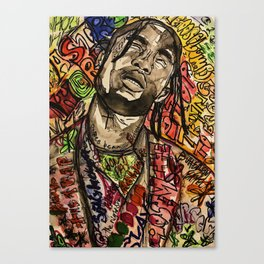 La flame,travis,music,hiphop,poster,astro world,tour,wall art,artwork,painting,colourful Canvas Print