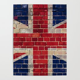UK flag on a brick wall Poster
