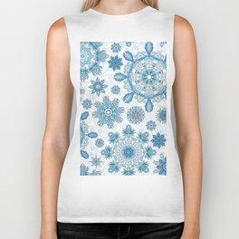 Floral pattern with stylized snowflakes. Christmas winter snow theme pattern. Biker Tank