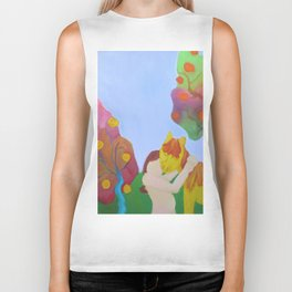 Rainbow Trees and a Girl Hugging her Horse Biker Tank