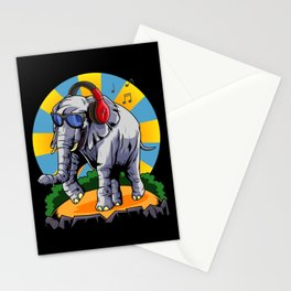 Hipster Elephant | Cool Sunglasses Headphones Swag Stationery Cards
