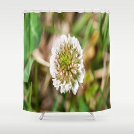 White Clover Flower (Macro) Shower Curtain