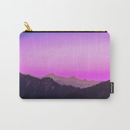 Pink skies over the mountains. Digital artwork in oil painting style. Carry-All Pouch