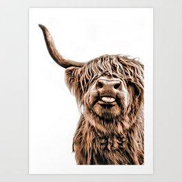 Funny Higland Cattle Art Print