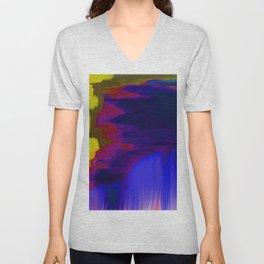 Indigo Waterfall, by Mickeys Art And Design Unisex V-Neck