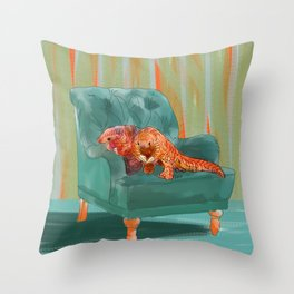 animals in chairs #5 the Pangolin Throw Pillow