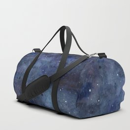 Galaxy Nebula Watercolor Night Sky Stars Outer Space Blue Texture Duffle Bag
