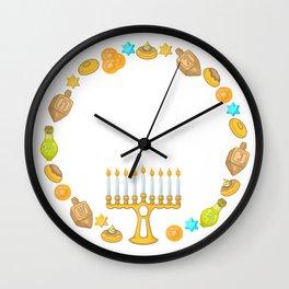 Happy Hannukah Wall Clock