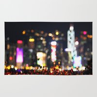 hong kong Area & Throw Rugs featuring HONG KONG by Chernyshova Daryna