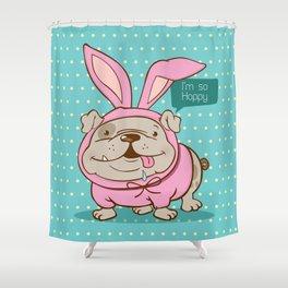 A hoppy bulldog! Shower Curtain