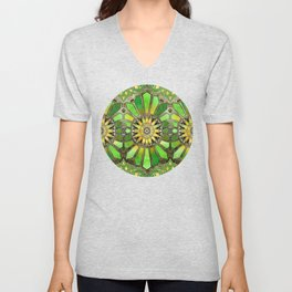Stained Glass in Green and Gold - customer request Unisex V-Neck
