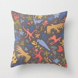 Frida Menagerie in Studio Throw Pillow