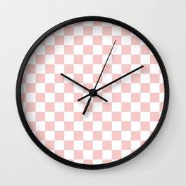 Gingham Pink Blush Rose Quartz Checked Pattern Wall Clock