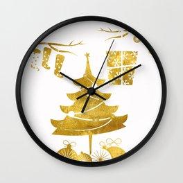 Gold Christmas 03 Wall Clock