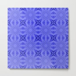 Blue Flower Cross Floral Pattern Metal Print
