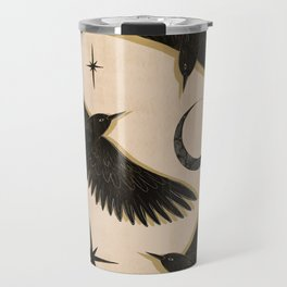 Black birds flying with the Moon Travel Mug