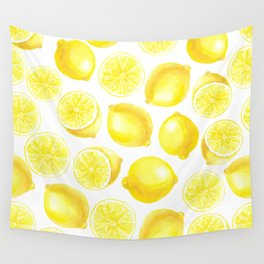 Watercolor lemons design Wall Tapestry