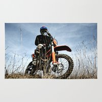 moto Area & Throw Rugs featuring KTM Moto by Mateusz Strelau