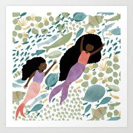 Mermaids and Fish in the Ocean Art Print