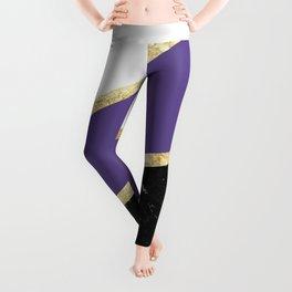 Ultra Violet, White, Black Marble and Gold Stripes Glam #1 #minimal #decor #art #society6 Leggings