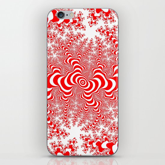 red and white fractal iPhone & iPod Skin