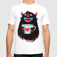 Demon with a cup of coffee (contrast) MEDIUM White Mens Fitted Tee