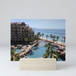 Palm Trees   Pool   Beach   Bright Blue Sky Mini Art Print