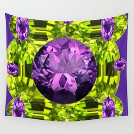AMETHYST PURPLE  LIME GREEN PERIDOT GEMS BIRTHSTONES Wall Tapestry