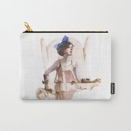 A Girl with a Blue Ribbon Carry-All Pouch