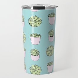 Green suculents in pink flowerpots on mint background Travel Mug