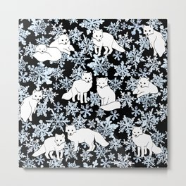 Foxes & Flakes Metal Print