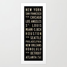 United States Bus Scroll Art Print