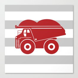 Red Dump Truck on Gray Stripes Canvas Print