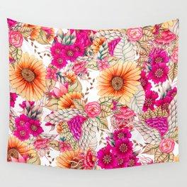 Pink orange spring vintage floral watercolor illustration pattern Wall Tapestry