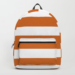 Cocoa brown - solid color - white stripes pattern Backpack