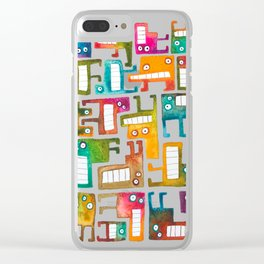 Tetris Monsters Clear iPhone Case