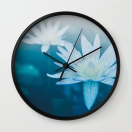 Blue Floral Photography Wall Clock