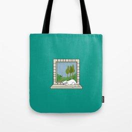 Plenty of imagination: a cat wants to run. Tote Bag