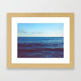 Minimalist Blue Waters Ocean Horizon Landscape Framed Art Print