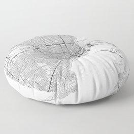 Miami White Map Floor Pillow