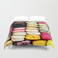 macarons Duvet Covers featuring Macarons LOVE by Lucrezia Semenzato