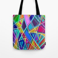 stained glass Tote Bags featuring Stained Glass by gretzky