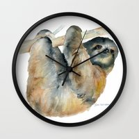 sloth Wall Clocks featuring Sloth by Susan Windsor